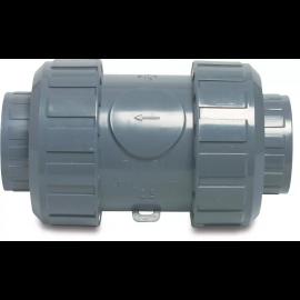 PVC industrie-terugslagklep, veerbelast, type S4 grijs, PVC-U, EPDM