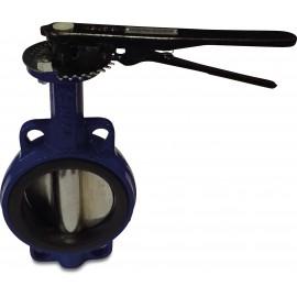 Profec Vlinderklep, type 600 blauw, zwart, 10 bar, EPDM, gietijzer, RVS 316, PN6/10/16, nodulair gietijzer, nodulair gietijzer (GGG40), hendel