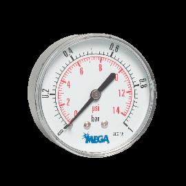 Mega manometer 63 mm droog achteraansluiting