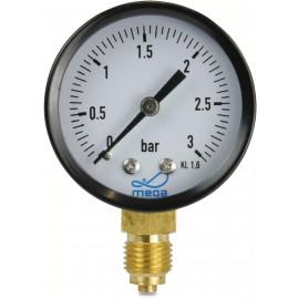 """Manometer droog ,ø 50 mm,  onderaansluiting  1/4"""""""