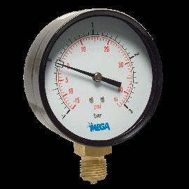 Mega manometer 100 mm droog onderaansluiting