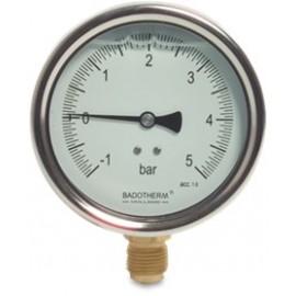 Mega RVS manometer 100 mm glycerine gevuld onderaansluiting