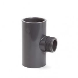 T-stuk 90° PVC-U  lijmmof x buitendraad x lijmmof 10bar