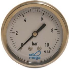 Mega RVS manometer glycerine gevuld achteraansluiting