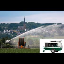 Onderzoek kosten voor u defecte waterpomp  installatie met Dieselset  voor regenhaspel Boeren en Tuinders op locatie
